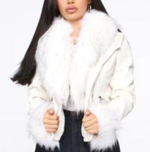 FashionNova Jackets & Coats - FashionNova Faux white leather jacket